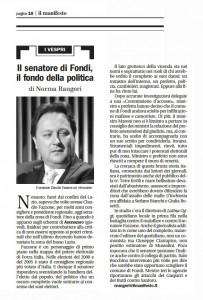 Il Manifesto su Annozero dedicata al caso Fondi, 07/11/2009